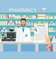 hand holding a prescription rx form vector image vector image