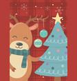 hanging balls horns reindeer tree merry christmas vector image