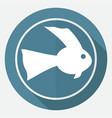 icon fish on white circle with a long shadow vector image vector image