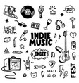 indie rock music tatoos set black and white vector image vector image