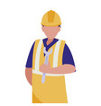 industrial worker with tools avatar character vector image vector image
