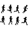kids running silhouettes vector image vector image