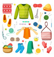 knits and knitting set handicrafts green sweater vector image