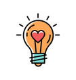 light bulb idea love icon feelings vector image vector image