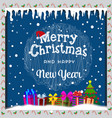 merry christmas card with snow icicles christmas vector image