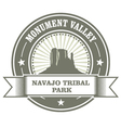 Monument Valley stamp - Navajo Tribal Park embelm vector image vector image