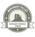monument valley stamp - navajo tribal park emblem vector image vector image