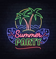 neon sign summer party with fluorescent palm tree vector image