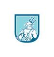 Neptune Poseidon Trident Shield Retro vector image vector image