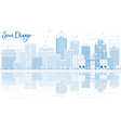 outline san diego skyline with blue buildings and vector image vector image
