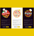 pizza house online promotional vertical banners vector image