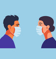 profile doctors or nurse in face mask vector image