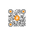 qr code with bitcoin sign symbol for internet vector image vector image