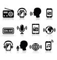 Radio podcast app on smartphone and tablet icons vector image
