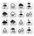 Rain thunderstorm heavy clouds buttons s vector image vector image