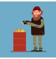 Sad homeless heated standing near barrel with fire vector image