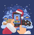 santa claus checking children profiles online vector image