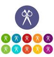scissors icons set color vector image