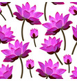 seamless pattern with pink water lilies vector image