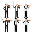 Set of violinistes flat icons vector image