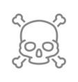skull with crossbones line icon warning death vector image vector image