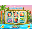 Slot game template with children characters vector image vector image