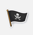 sticker pirate flag jolly roger crossed sabers vector image