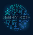 street food blue round symbol line vector image vector image