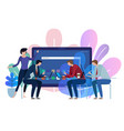 tablet device screen business team working vector image vector image