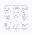Ufo planet and telescope icons Global network vector image vector image