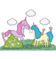 unicorns animals with clouds and bushes plants vector image vector image