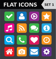 Universal Colorful Flat Icons Set 1 vector image vector image