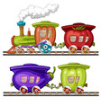Vegetables trains wagons and rails