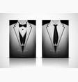 white suit and tuxedo with black bow tie vector image vector image