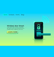 wireless door smart protection device application vector image