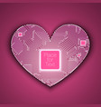 circuit board heart with processor inside vector image
