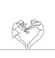 two people couple make heart in jump vector image