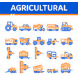 agricultural vehicles thin line icons set vector image vector image