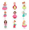 beautiful cartoon princess girls in a ball dress vector image vector image