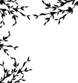 Black Silhouette Branch Tree with Leafs vector image vector image
