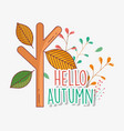 branch leaves hello autumn design icon vector image