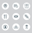 cafe icons set with silverware lunch time vector image vector image
