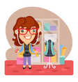 cartoon girl tailor vector image