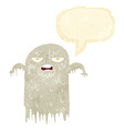 cartoon slimy ghost with speech bubble vector image vector image