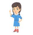 caucasian girl with open mouth pointing finger up vector image vector image