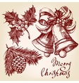Christmas decorations set hand drawn vector image vector image
