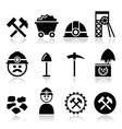 Coal mine miner icons set