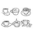 coffee cups set line art sketch vector image