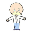 comic cartoon bald man with open arms vector image vector image
