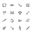 doodle kitchenware and food icons set vector image vector image